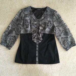 Black Gray Python Ruffle Top